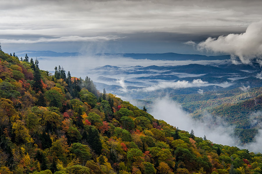 Boone NC - Early Morning Clouds Over Mountains in Boone North Carolina